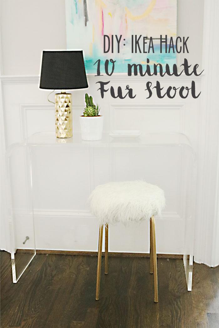 DIY Ikea Hack White Fur Stool