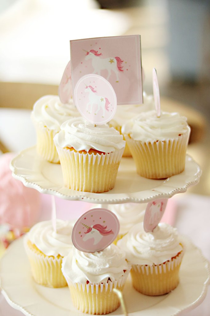 Unicorn Cupcake Toppers from Free Unicorn Printables via Mandy's Party Printables