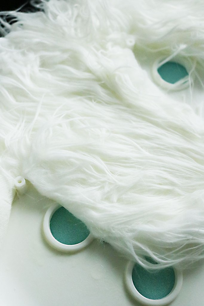 white-fur-stool-gluing-down-fabric