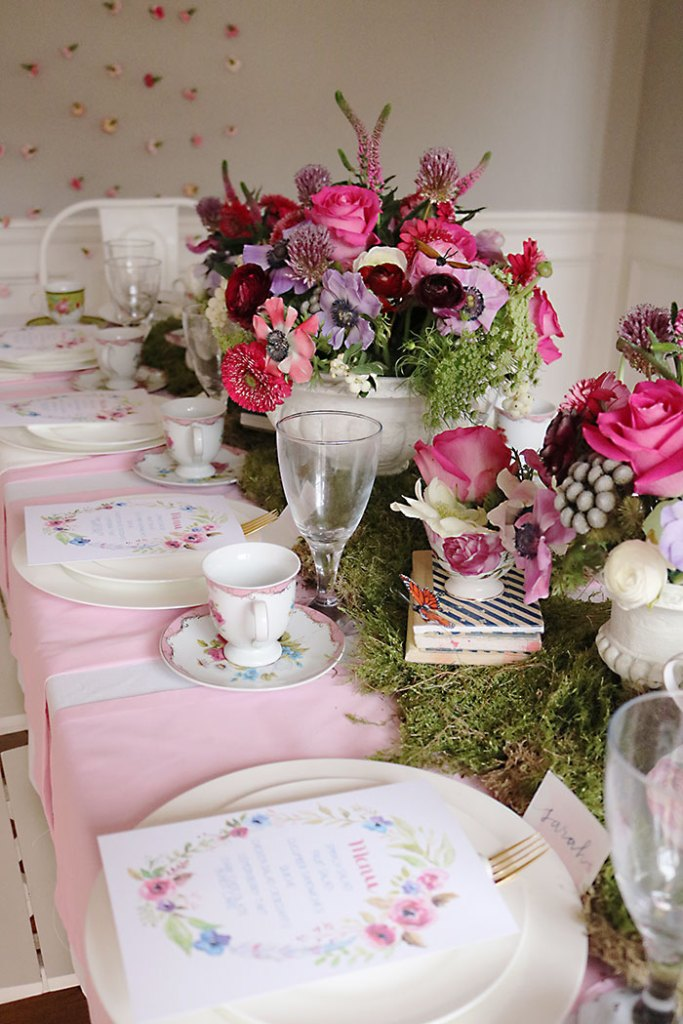 garden-party-table-decorations, garden-tea-party-inside, garden tea party, outside garden party, table decorations, flowers, flower arrangements, butterfly, whimiscal, Alice in Wonderland, english tea party, centerpieces, secret garden