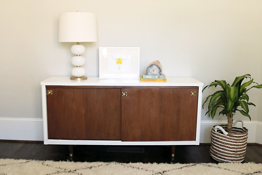 mid century credenza with brass handles, mid century modern credenza makeover, lacquer paints, amy howard at home lacquer paints, brass tapered modern legs, two-tone modern credenza