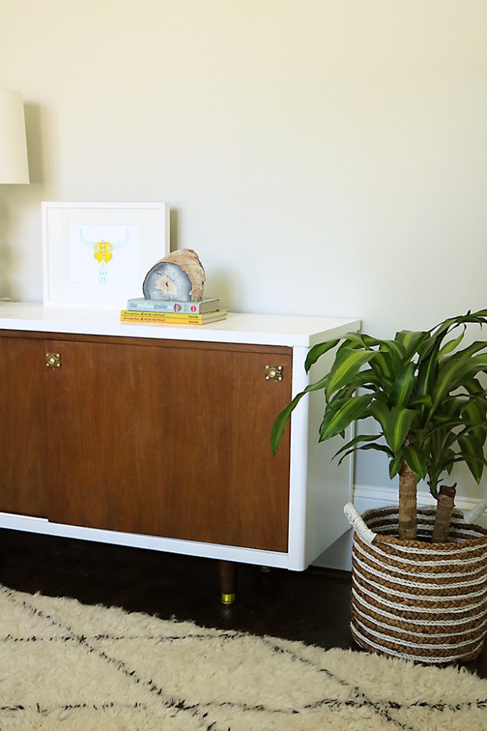mid century credenza with house plant