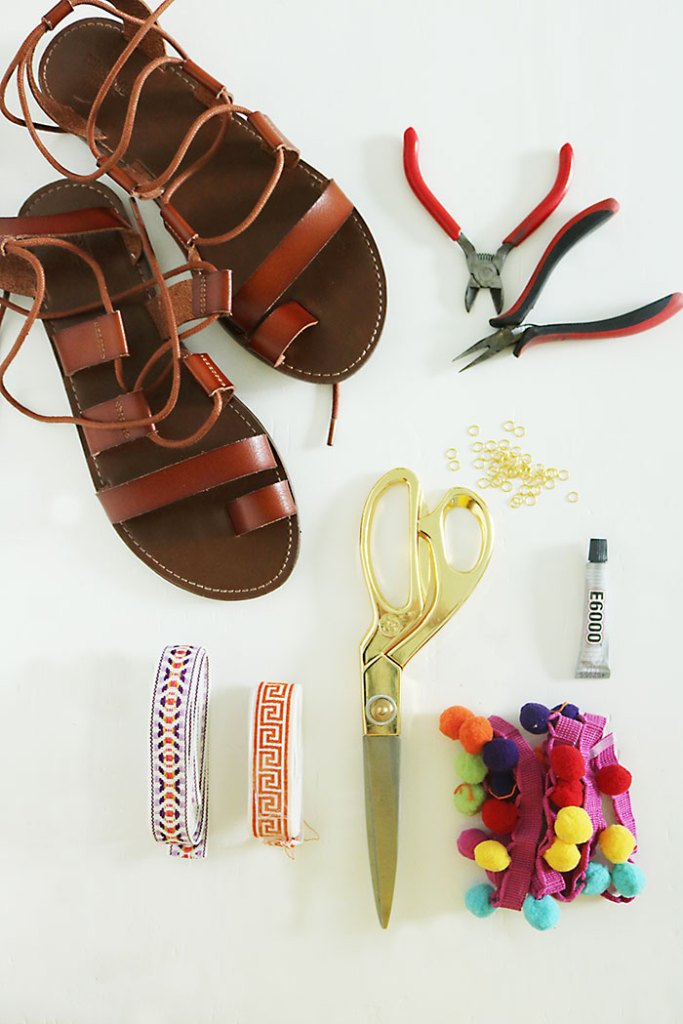 DIY-pom-pom-sandals-supplies