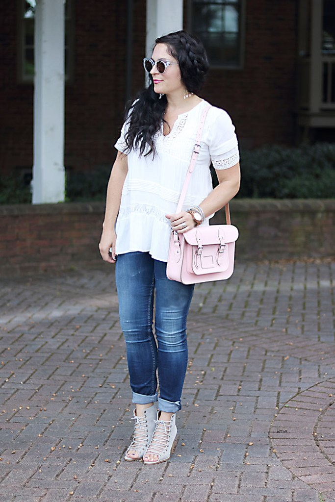 leather-satchel-anthro-white-boho-shirt, leather-satchel-co-boho-look, classic leather satchel, the leather satchel co., british made, college back to school style, anthropologie tunic, pink purse, mom style, braid hair style
