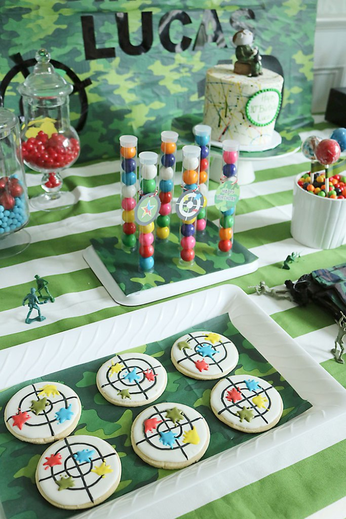 paintball-birthday-target-cookies, Paintball cookies, target cookies, paintball decorations