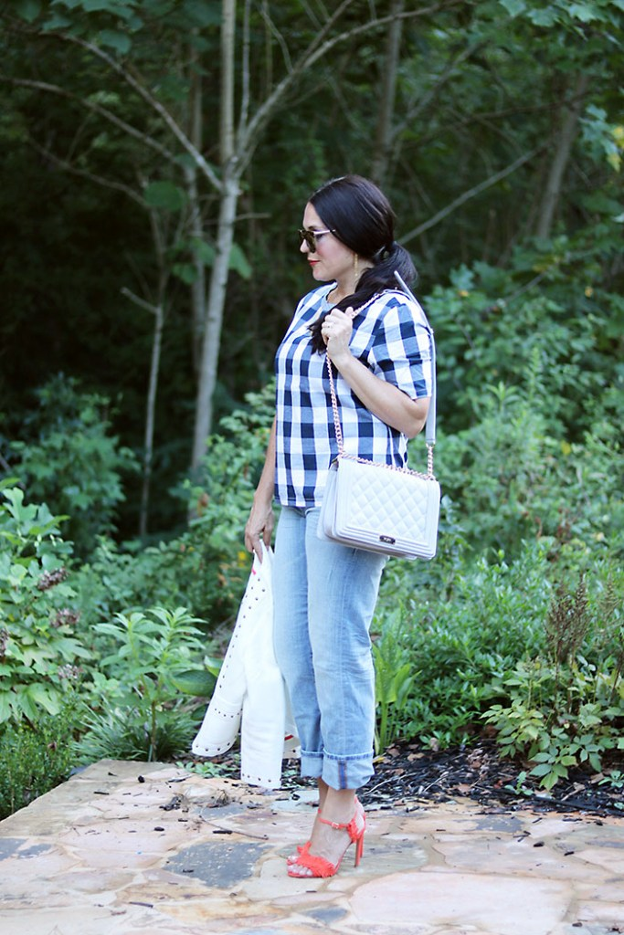 plaid-shirt-and-boyfriend-jeans-with-heels, fringe heels, plaid-shirt-and-boyfriend-jeans, romwe, buffalo checks shirt, fall outfit, transitional outfit from fall to summer, plaid shirt for women, boyfriend jeans, banana republic, chanel bag