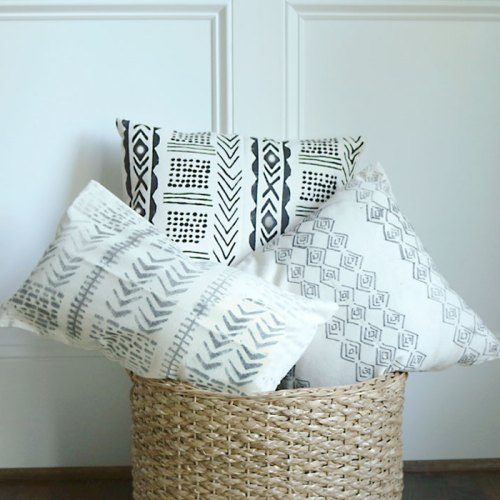 DIY Mud Cloth Pillow Using Freezer Paper