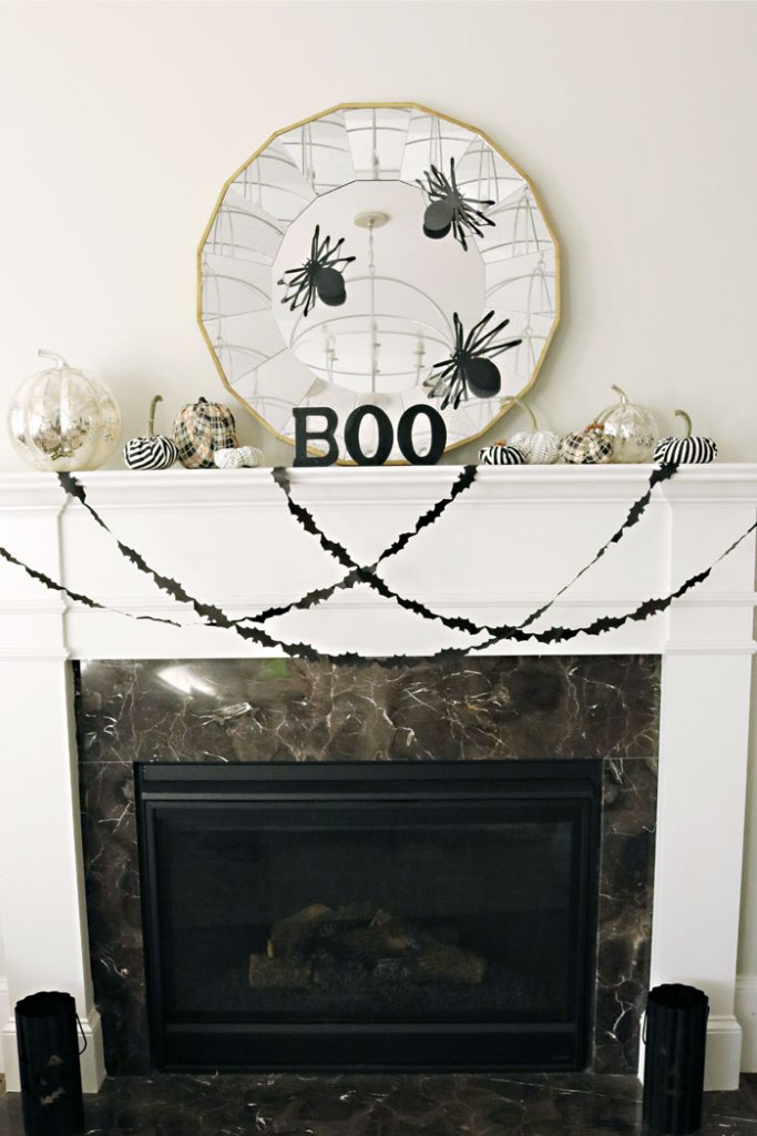 diy-fabric-pumpkins-sitting-on-mantle, halloween decoration mantle ideas, pumpkin mantle ideas, fabric pumpkin, modern halloween decorations, velvet pumpkin