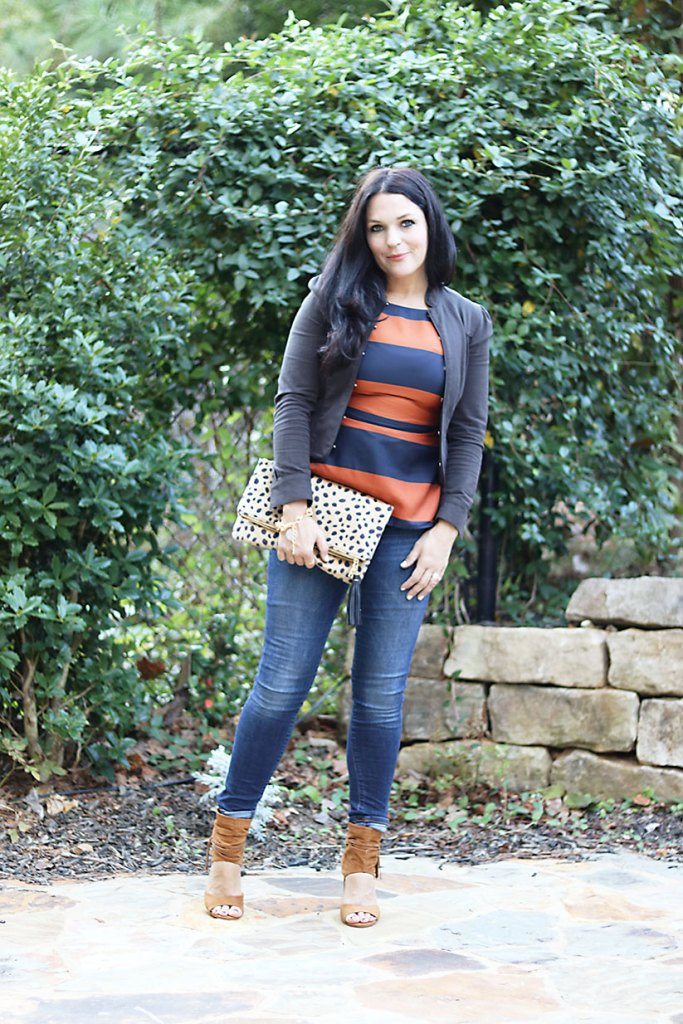 business-casual-with-leopard-print-clutch, banana republic, open toe suede booties, leopard clutch