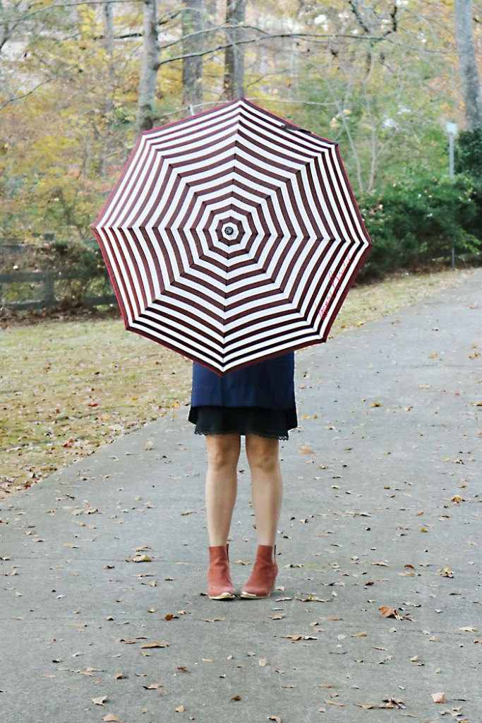 fall-finds-sale-with-striped-umbrella, henri bendel, striped umbrella, shift dress, jeffrey campbell booties