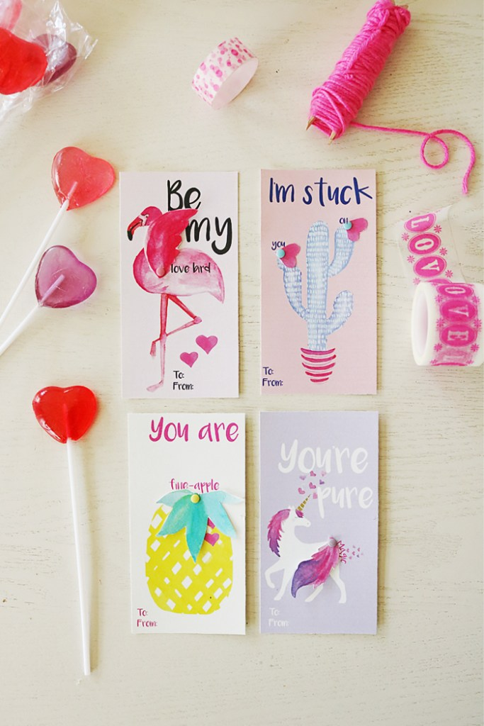 valentines for girls, watercolor valentines, flamingo valentine, unicorn valentine, cactus valentine, pineapple valentine, free printable, valentines for kids, fun sayings valentines, interactive valentines