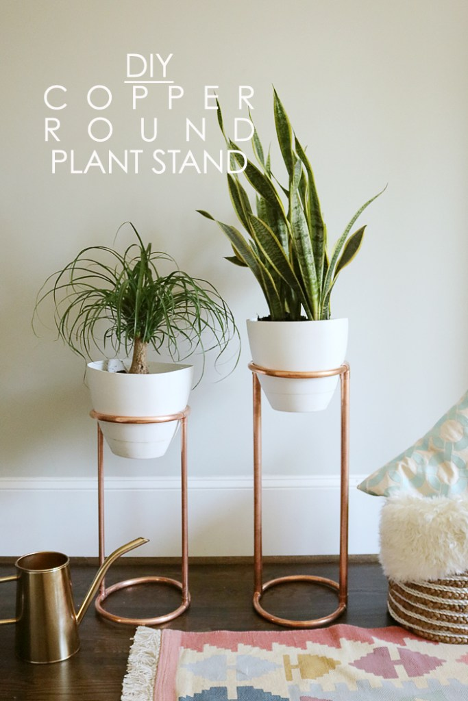 DIY copper round plant stand, copper plant stand, copper planter stand, DIY modern plant stand, mid-century plant stand, houseplants, indoor plant, how to decorate with plants, DIY interiors