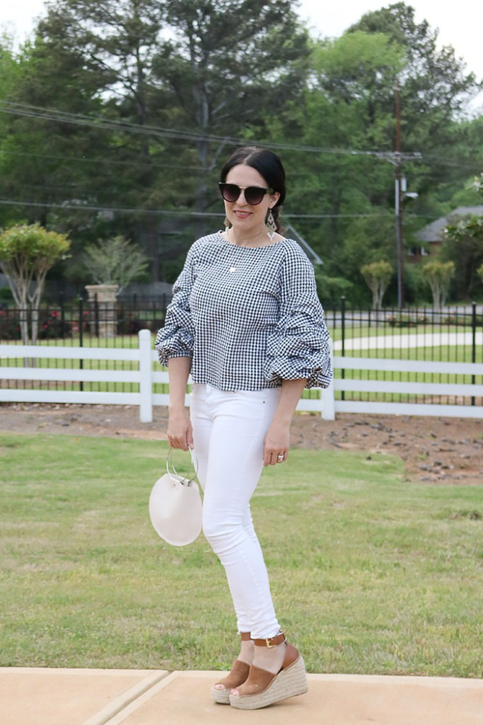ruffled sleeve tops under $100, ruffled sleeve top, billowed sleeve top, gingham top, white pants, summer outfit, marc fisher wedge,