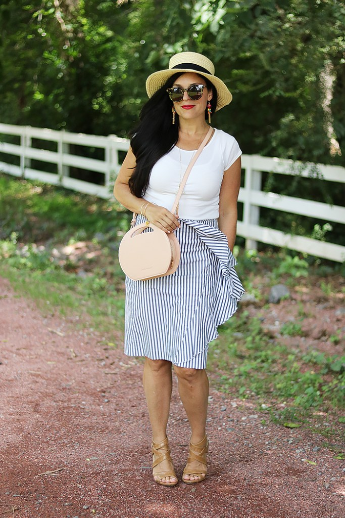 seersucker stripe skirt, ruffle stripe skirt, pinstripe skirt, banana republic skirt, ruffle banana republic skirt, pink round circle bag, handbag, amazon fashion, bahama hat, darleen meier jewelry, pink canteen bag