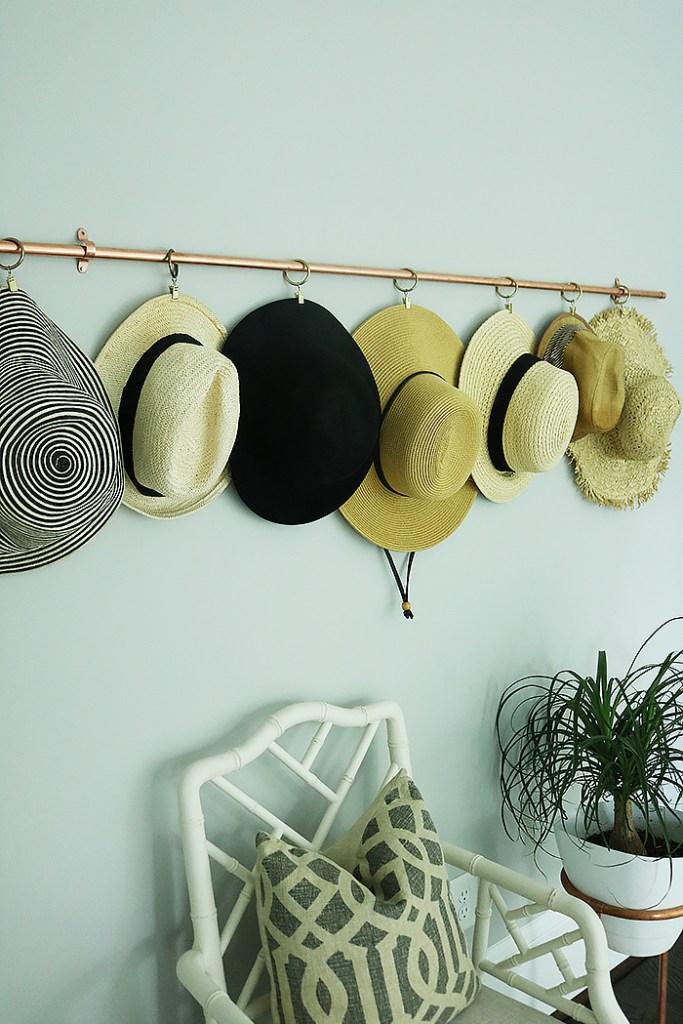 diy copper hat rack, copper hat storage, copper DIY projects, copper, storing hats, organizing hats, straw hats, curtain rods, curtain rings, hat rack ideas, hat rack for boys, hat rack ideas men, hat rack DIY wall, hat rack diy rustic, hat styles for women, hat storage ideas display, hat storage diy, hat storage ideas. hat organization, hat organization closet