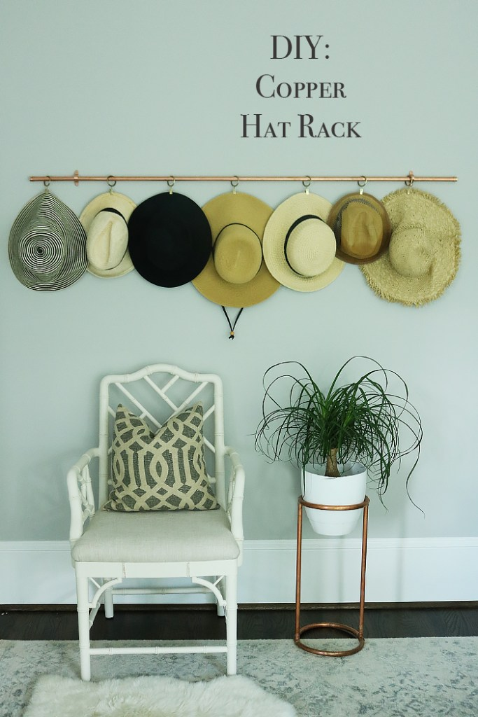 diy copper hat rack, copper hat storage, copper DIY projects, copper, storing hats, organizing hats, straw hats, curtain rods, curtain rings, hat rack ideas, hat rack for boys, hat rack ideas men, hat rack DIY wall, hat rack diy rustic, hat styles for women, hat storage ideas display, hat storage diy, hat storage ideas. hat organization, hat organization closet