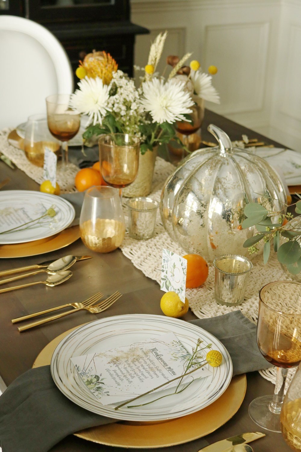 thanksgiving table set up with place settings - Darling ...