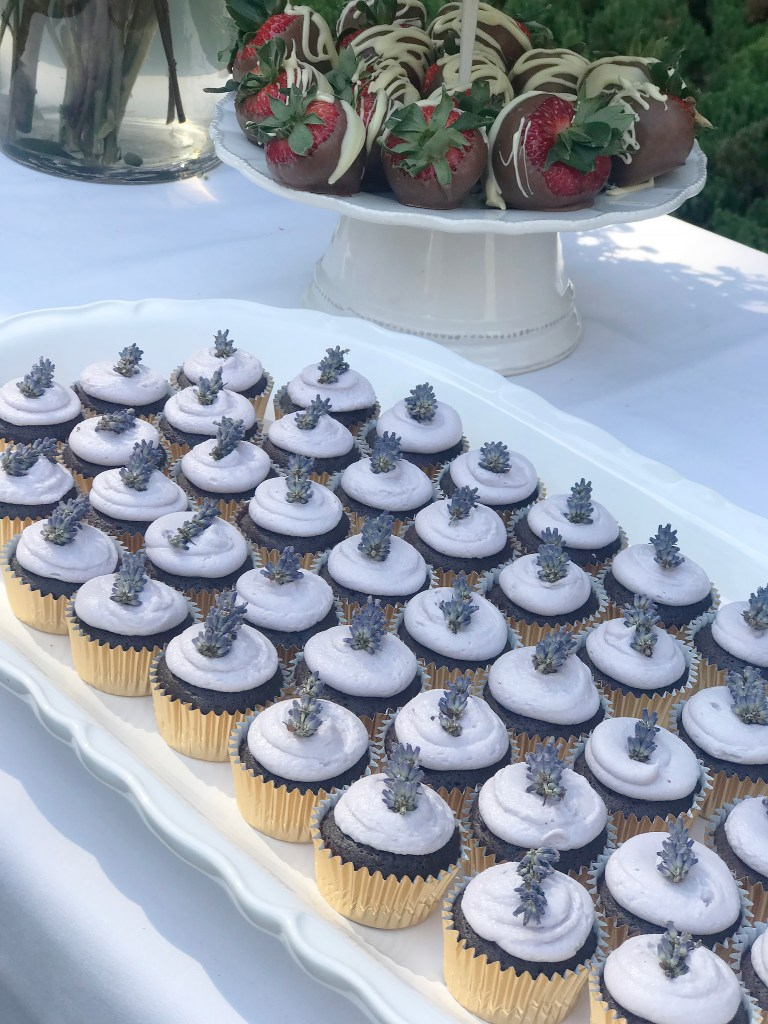Lavender chocolate cupcakes for a mother's day garden tea party food to serve || Darling Darleen