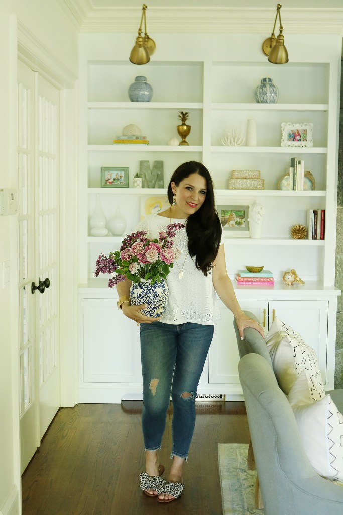Add a little color by freshening up with these 5 easy Spring updates to your home. || Darling Darleen  built-in bookcase near fireplace, easy spring updates, lilac bouquets, tips for home decor, home decor easy ideas, #homedecor, #springupdates