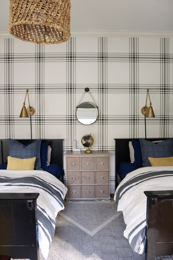 Bold Tween Boys Bedroom with Twin Beds and Plaid Wallpaper with Lamps Over Headboard and mirror || Darling Darleen