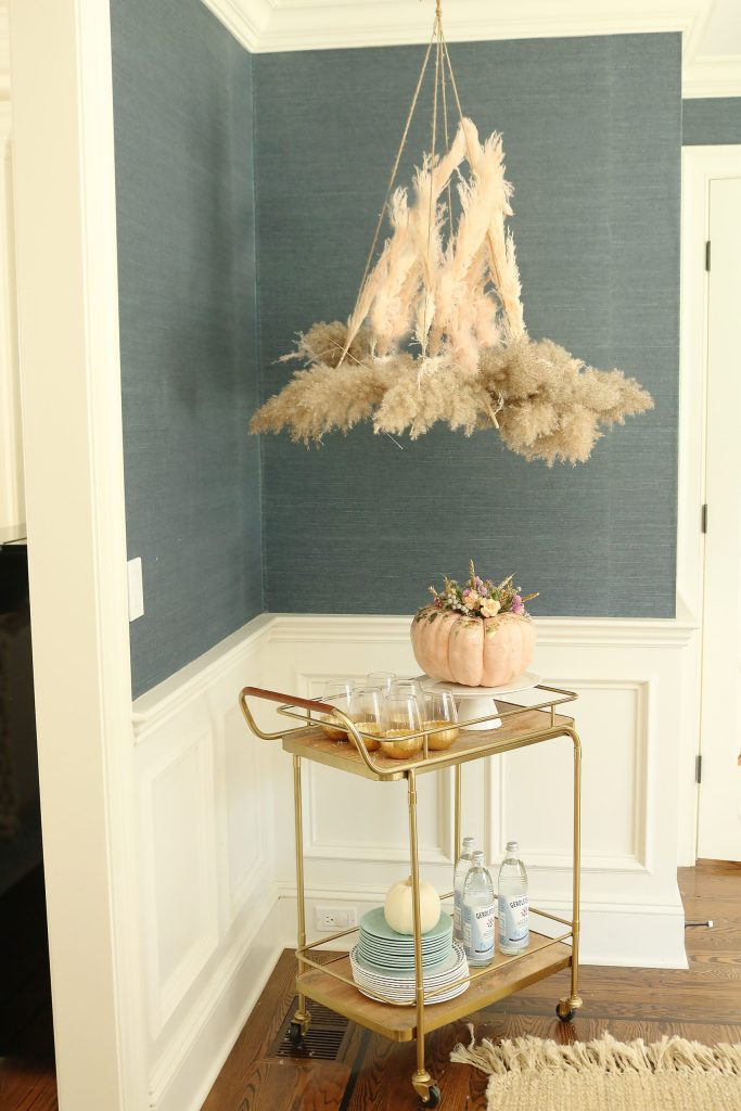 Fall Decor Pampas Grass DIY chandelier for your Thanksgiving party || Darling Darleen