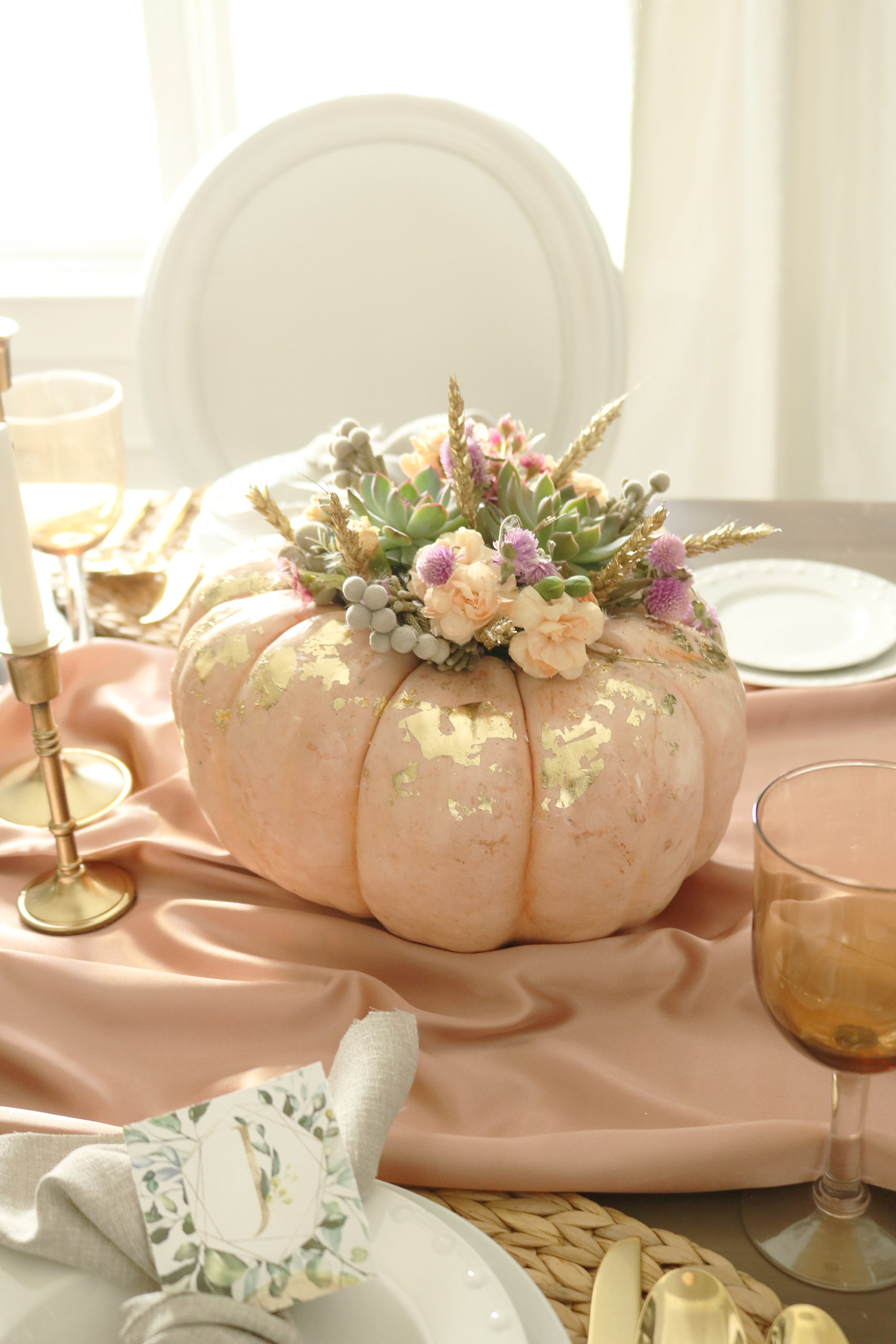 Pumpkin Succulent Flower Centerpiece