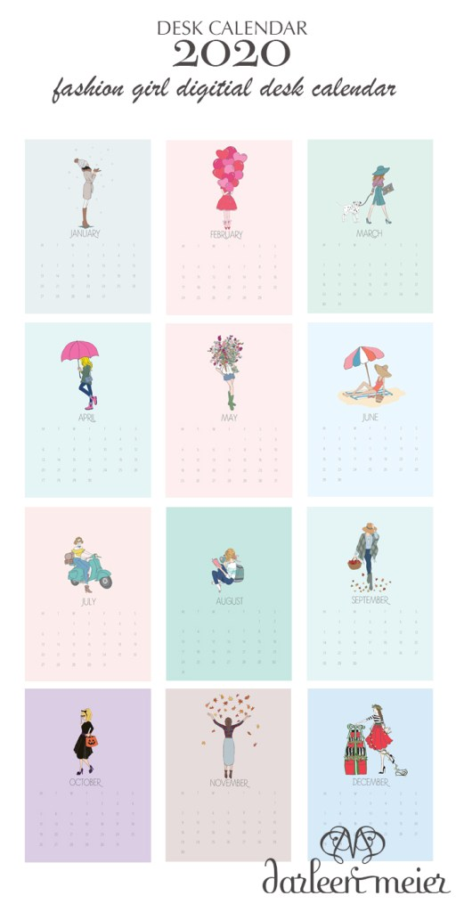 Happy New Year.  Enjoy this 2020 Fashion girl calendar printable, free printable, digital printable 2020 desk calendar, artwork calendar, calendar to enjoy all through 2020, fashion girl calendar for the girl boss desk calendar.  || Darling Darleen