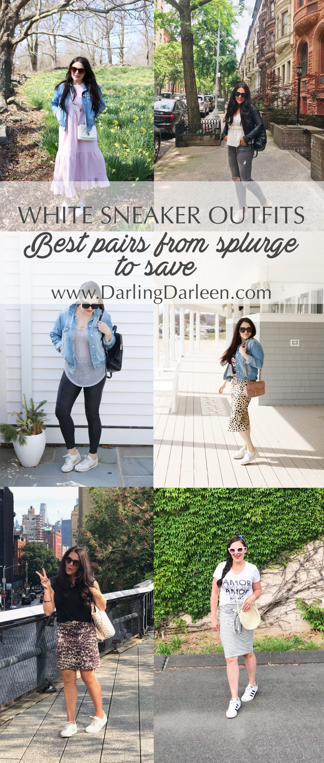 White sneaker outfits and the best sneaker pairs from splurge to save || Darling Darleen Top Connecticut Lifestyle Blogger #whitesneaker