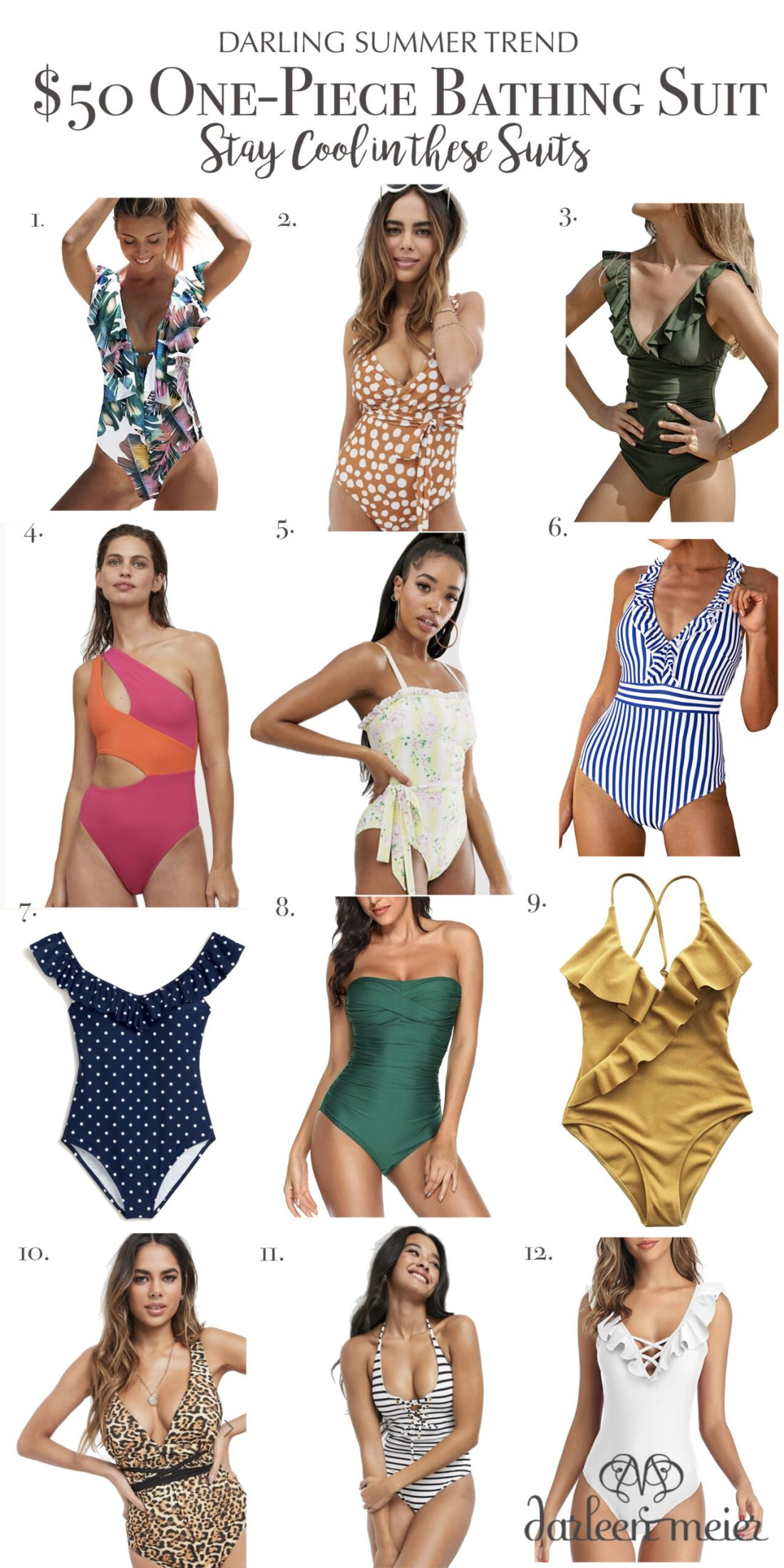 Stay cool in these one piece swimsuits that are modest and cute!  Here is a round up of one piece swimsuits under $50.  || Darling Darleen Top Lifestyle Connecticut Blogger #onepieceswimsuit