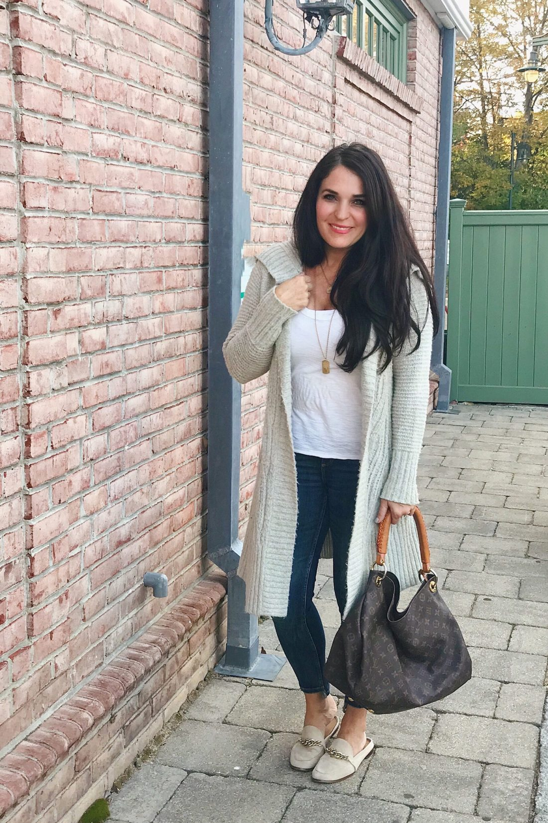 Long cozy cardigan with basic white shirt, jeans and loafer slides, which are discounted at Nordstrom Anniversary Sale picks || Top CT Lifestyle Blogger Darling Darleen