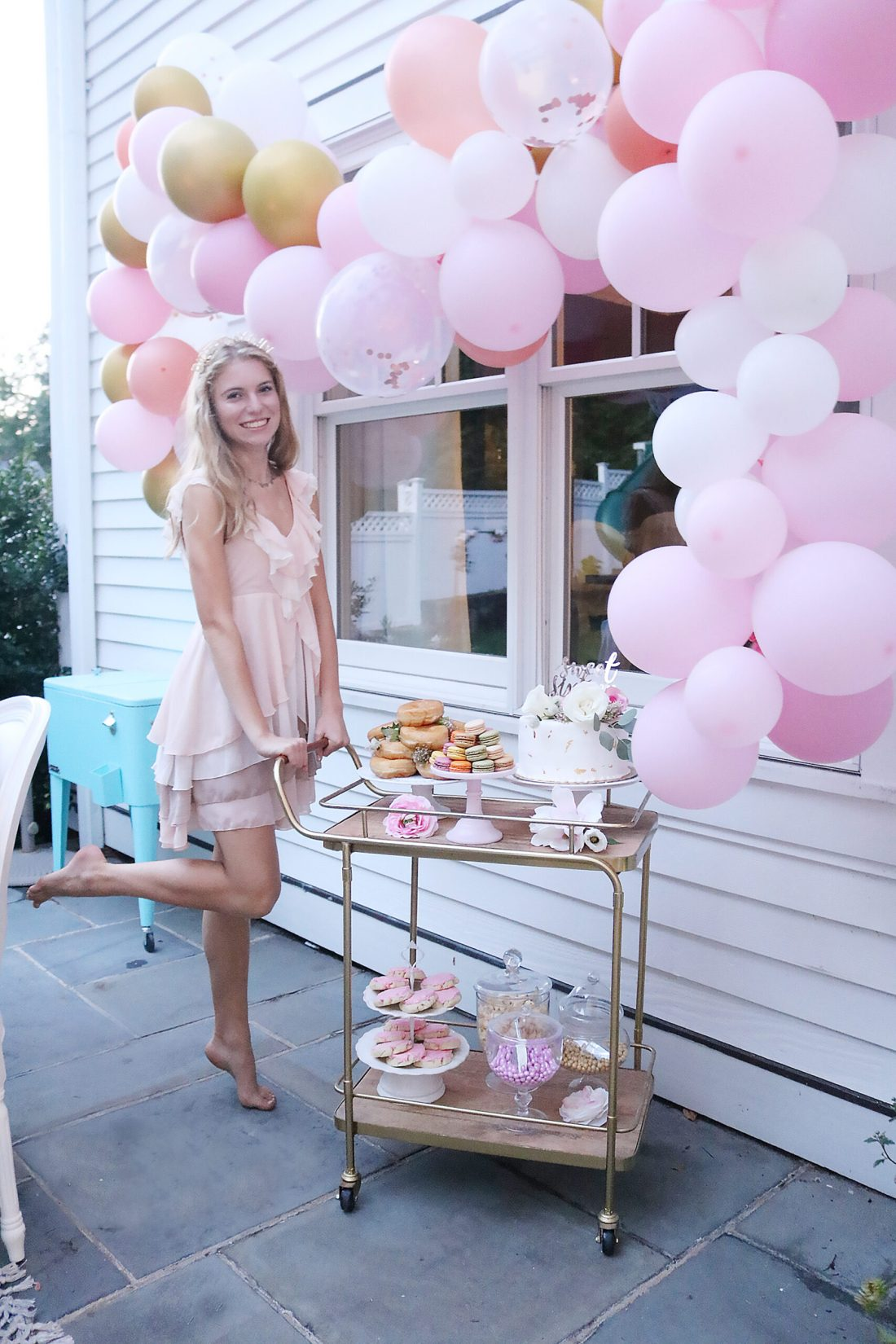 Boho Chic Sweet Sixteen Birthday Party Celebration with all the details and party plans.  Love the birthday cake on the dessert bar cart. We did a sixteenth birthday photoshoot.  Perfect for any teenager turning 16! || Darling Darleen Top CT Lifestyle Blogger #sixteenthbirthday #sixteenthbirthdayparty
