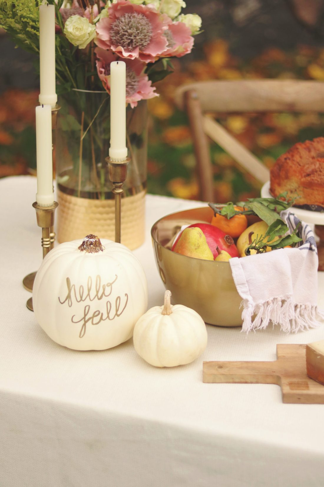 Decorating your Thanksgiving Table with crafting pumpkins plus an easy DIY Over-The-Table Floral Rod to Make Your Thanksgiving Table a Feast to Remember and to use for all your festive holidays.  || Darling Darleen Top Lifestyle CT Blogger #thanksgivingtable #thanksgiving #darlingdarleen