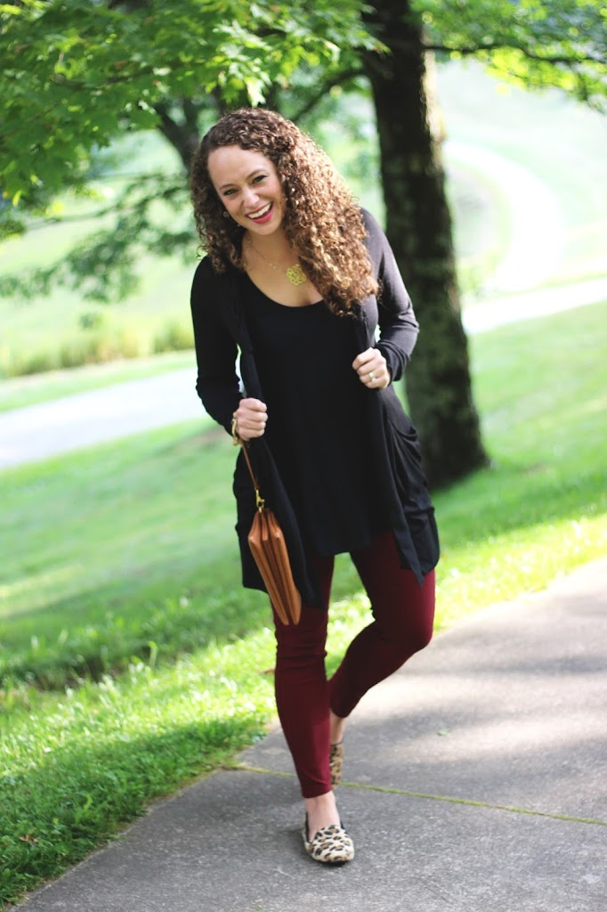 Black Top and Cardigan, Burgundy Pants