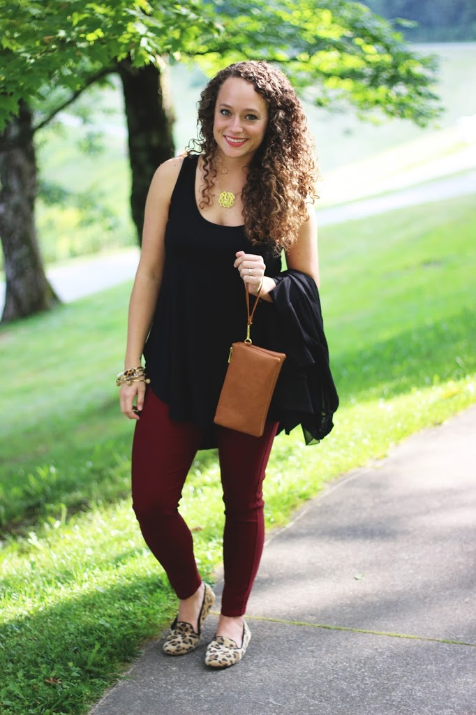 Black Top and Cardigan, Burgundy Pants, Leopard Shoes