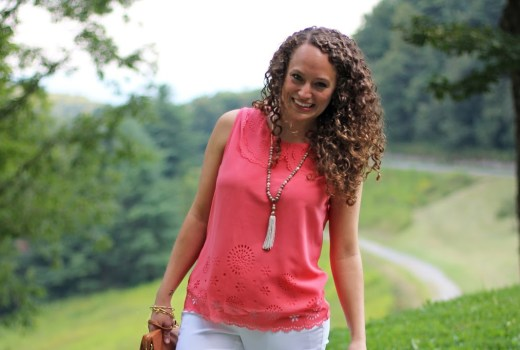 Coral Top, White Pants, Tassel Necklace
