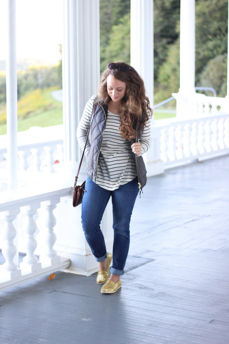 Black and White Striped Shirt, Gray J.Crew Vest, Levi Jeans, and Gold Glitter Toms