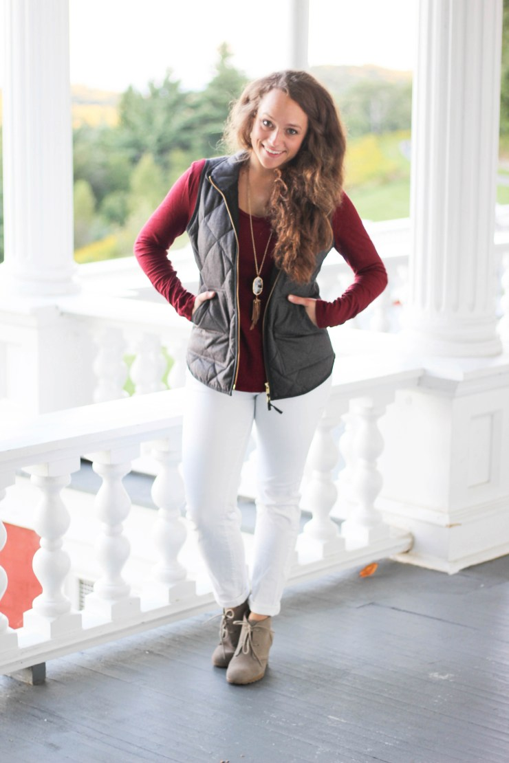 J. Crew Vest, Old Navy Shirt, Boone Belles White Pants, T.J. Maxx Booties