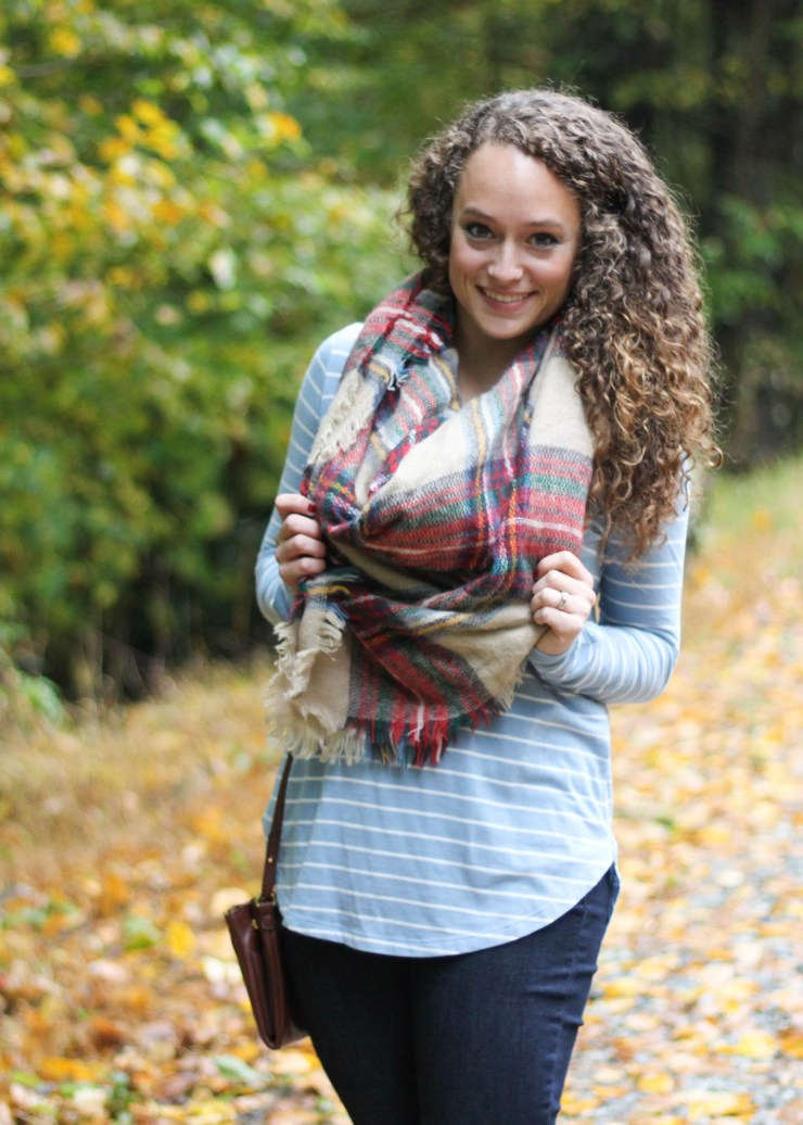 Blue and White Striped Shirt, Skinny Jeans, Over the Knee Boots, and Tartan Blanket Scarf