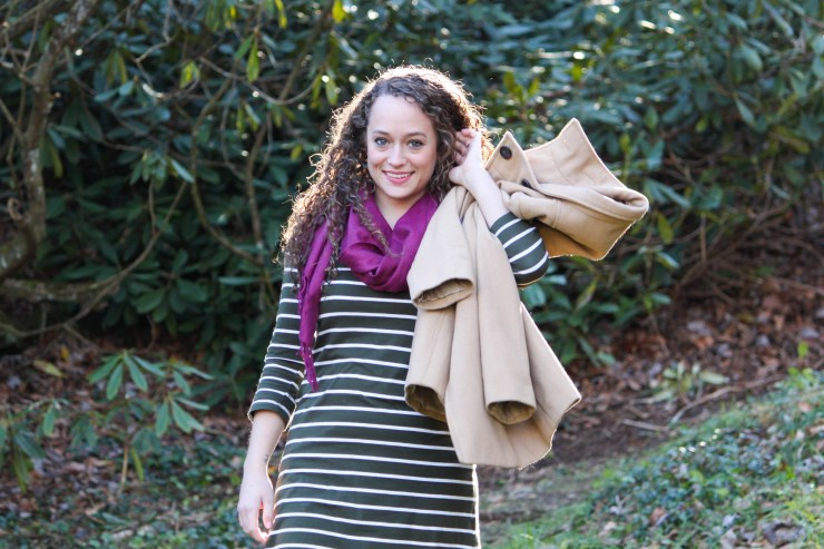 Green striped dress, cranberry scarf, camel peacoat, black riding boots