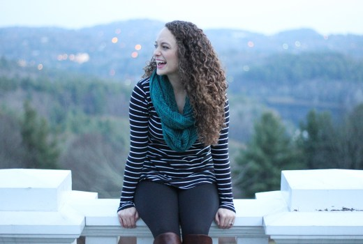 Black and White Striped Tunic, Black Leggings, Puffer Vest and Teal Infinity Scarf