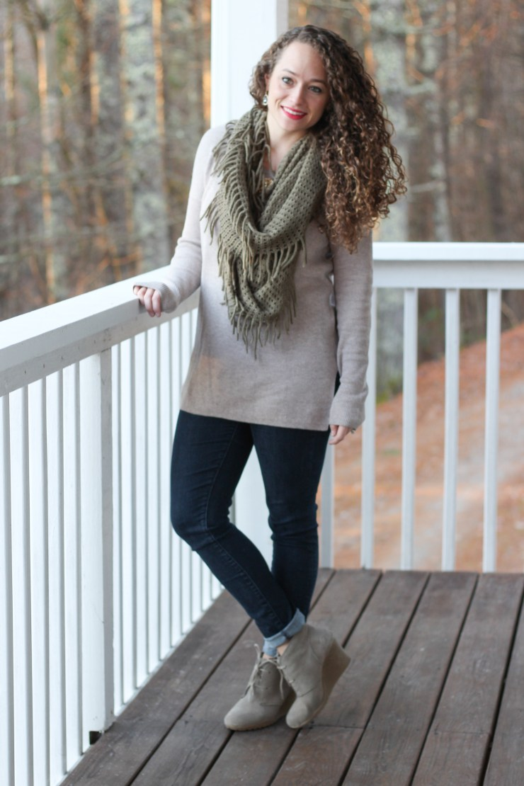 tan vented sweater, olive green fringe scarf, wedge booties