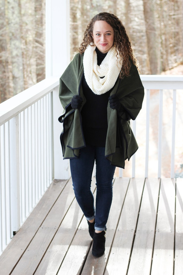 Olive Green Poncho and Black Turtleneck