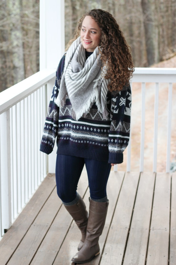 Winter Sweater and Gray and White Striped Scarf