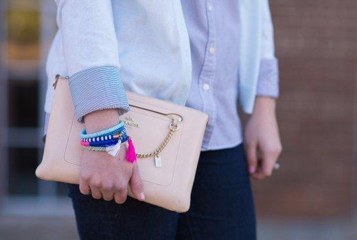 Coach purse and Purple Peridot bracelets