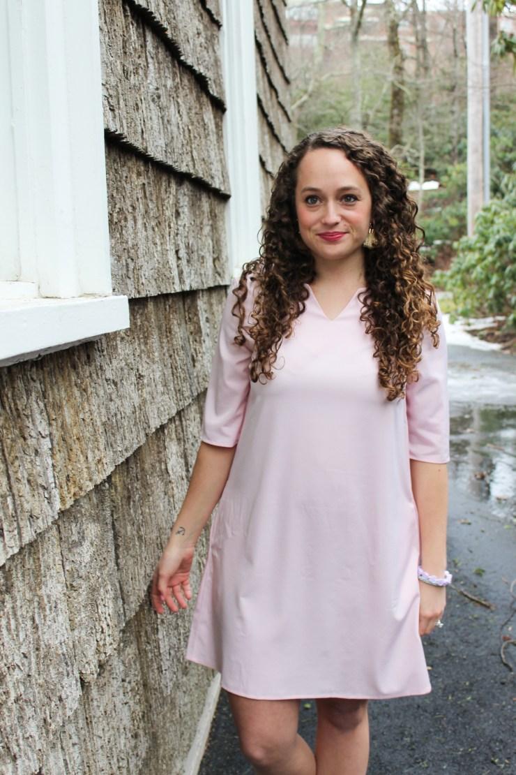 pink bow back romwe dress