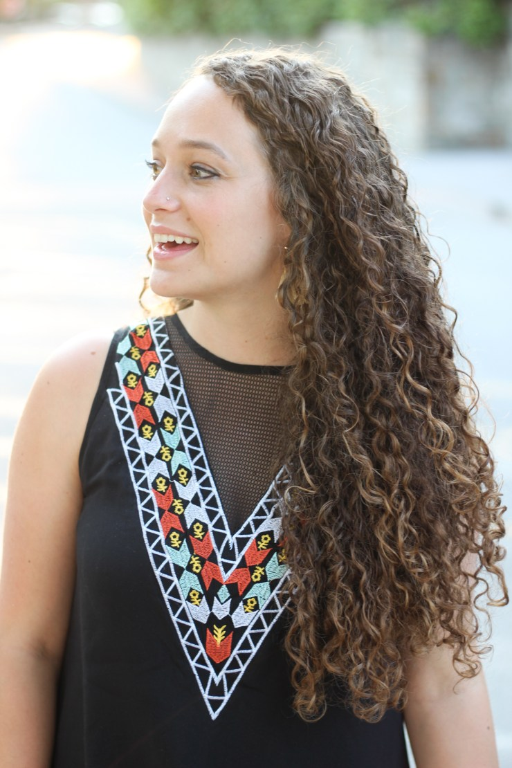 Black embroidered v neck dress