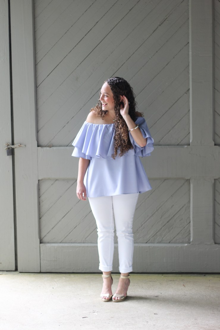 off the shoulder blue ruffle top with white pants
