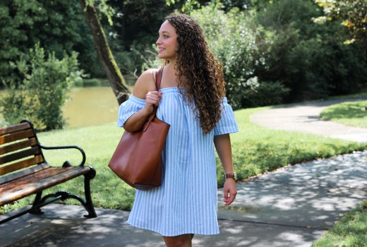 blue and white striped off the shoulder dress