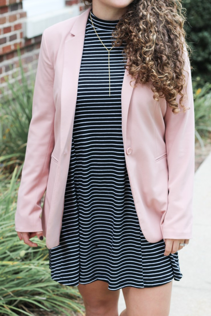 black and white mock neck dress with blush blazer for an easy business casual look