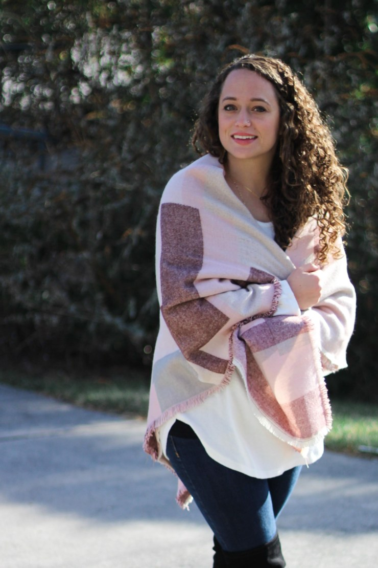 pink colorblock blanket scarf worn two ways